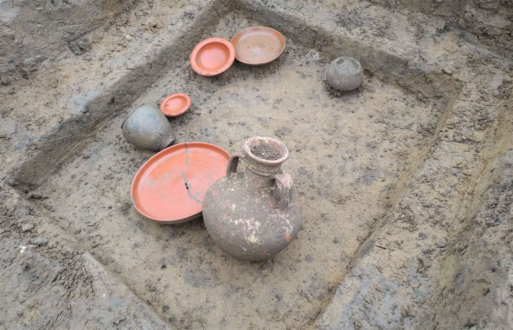Some of the pots found during the excavation of the site in Newington, near Sittingbourne