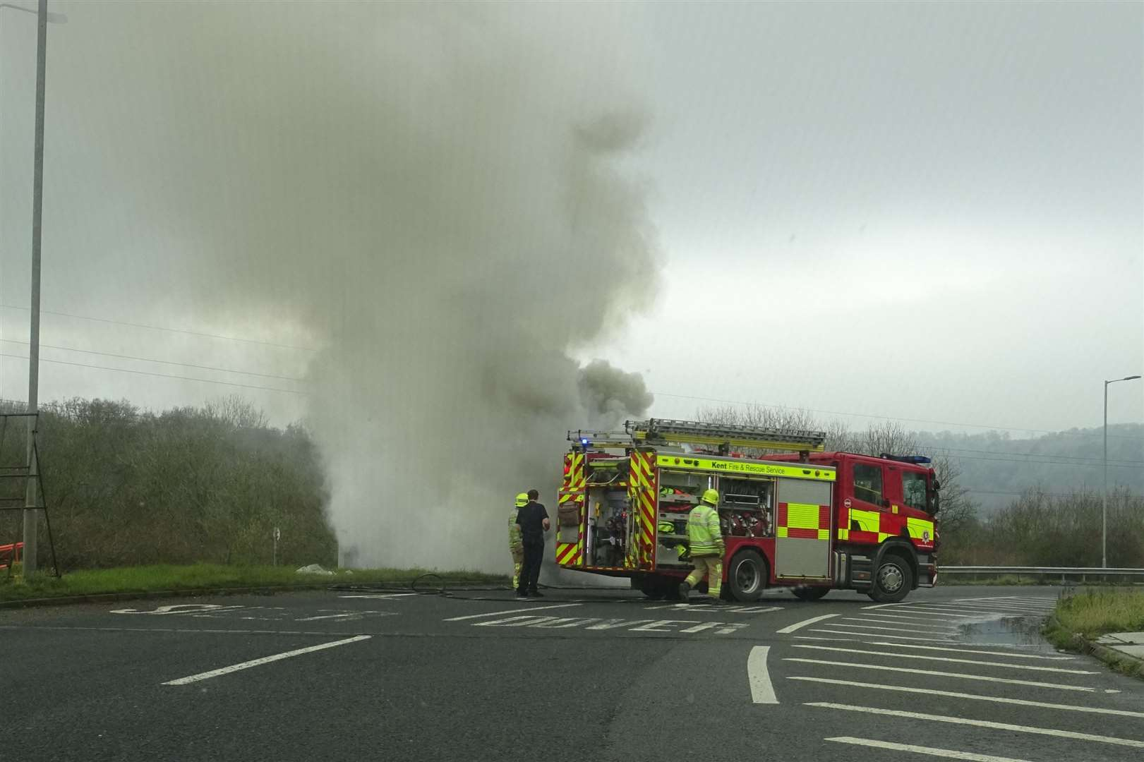 Smoke rises from a car on fire at Junction 7 of the M20. Picture: Sylvia Herbert (25349495)