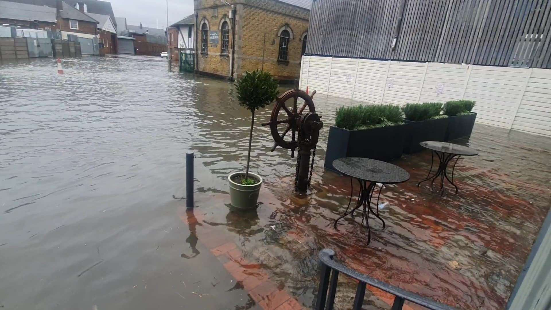 Water has reached The Quay restaurant in Faversham