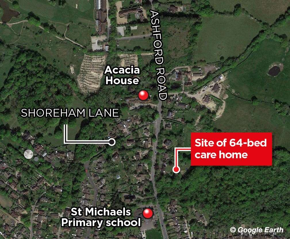 The Acacia House care home is just 100 metres from the proposed site