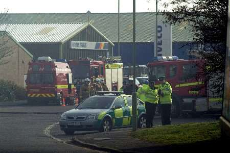 Emergency services at the scene of the fire at Ellingham Industrial Estate. Picture: GARY BROWNE