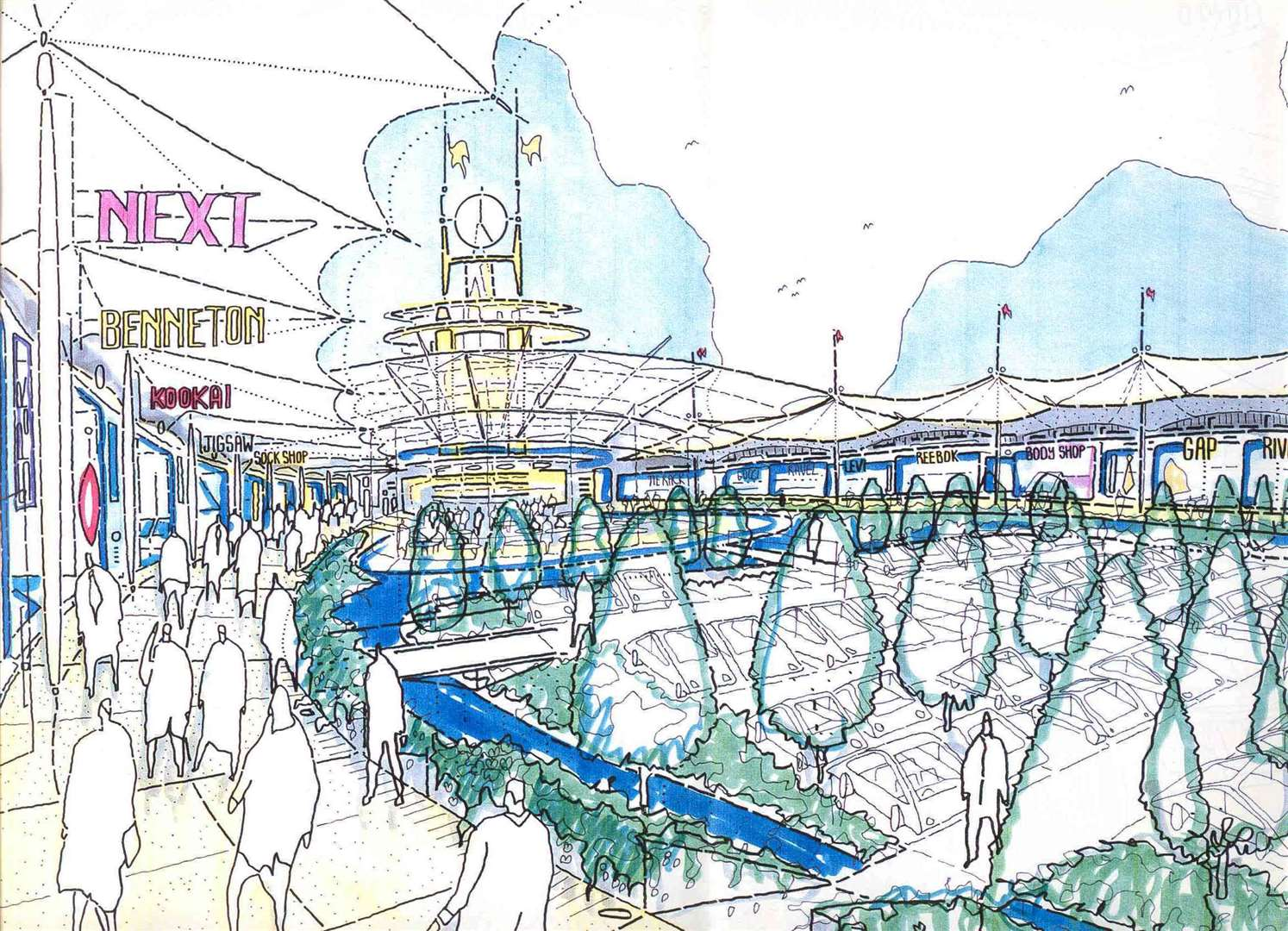 An artist's impression of the original design for the Ashford Designer Outlet - or 'Ashford Meadows Leisure Park' as it was first known