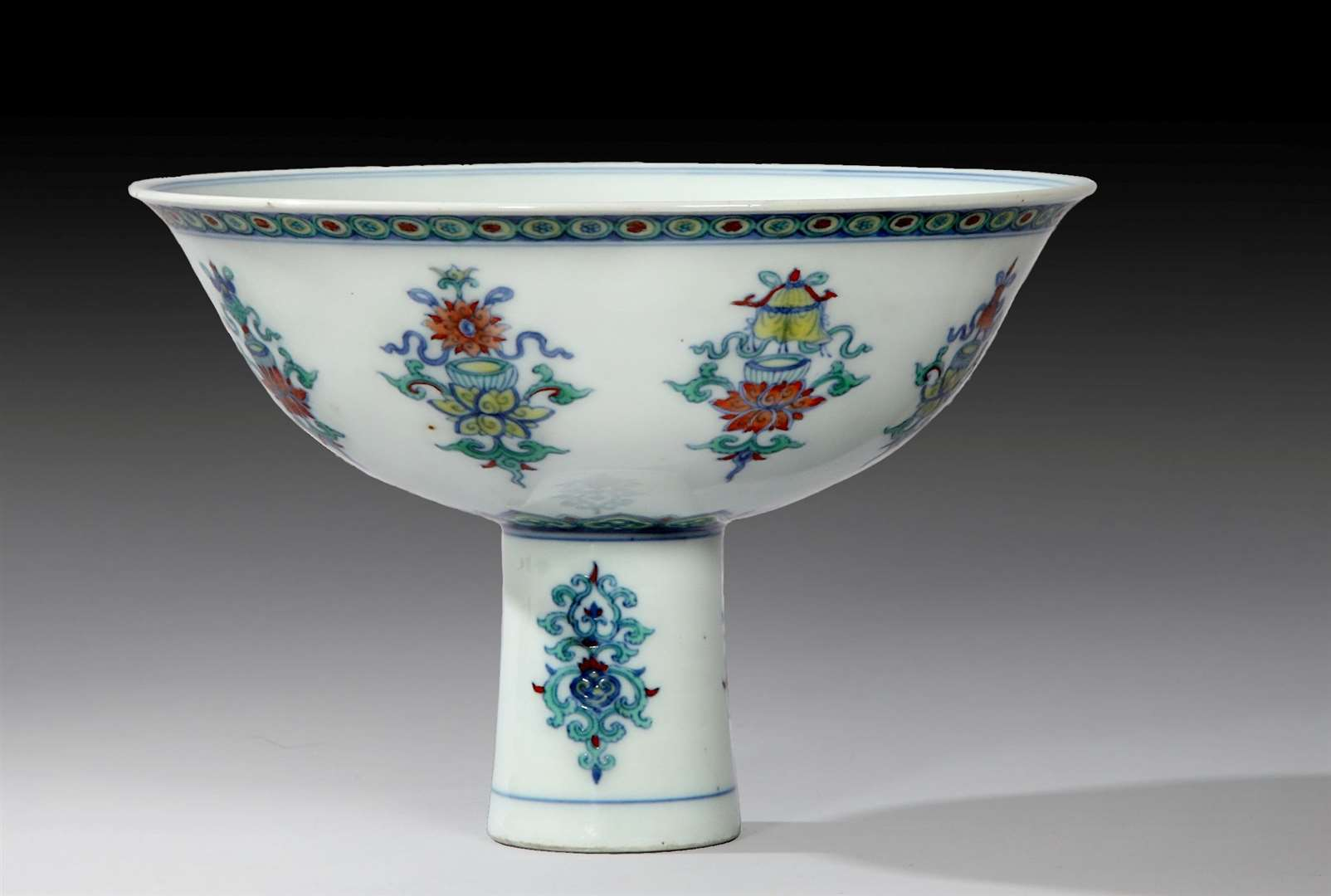 A rare Chinese porcelain Doucai 'chicken cup' sold for £155,000