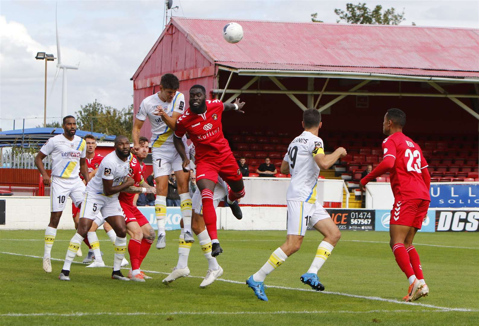 Ayo Obileye up for a header against Eastleigh Picture: Andy Jones