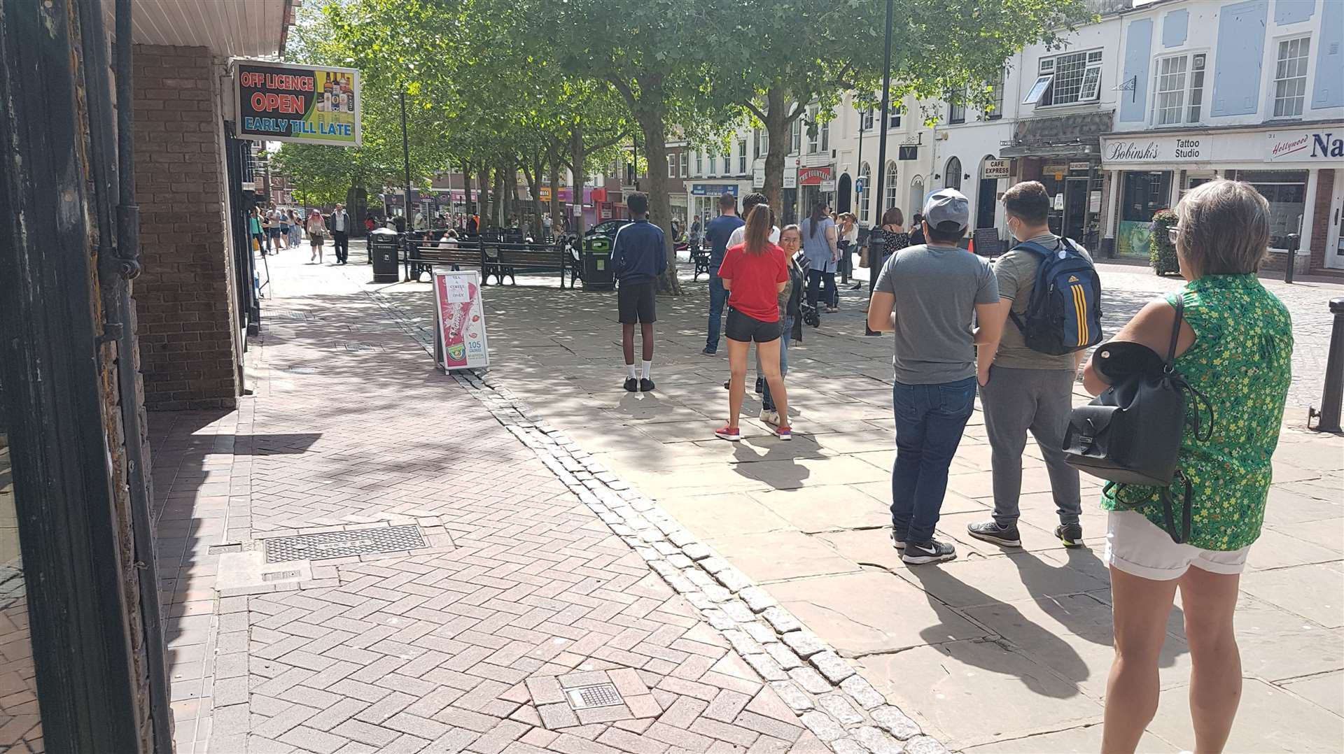 Ashford's Sports Direct proved a particular hit on the first day of shops reopening, with a long queue forming before opening until late in the evening.