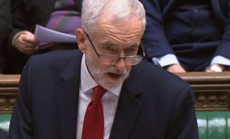 Jeremy Corbyn criticises the lorry convoy test in the House of Commons. Picture: Parliament TV (7155822)