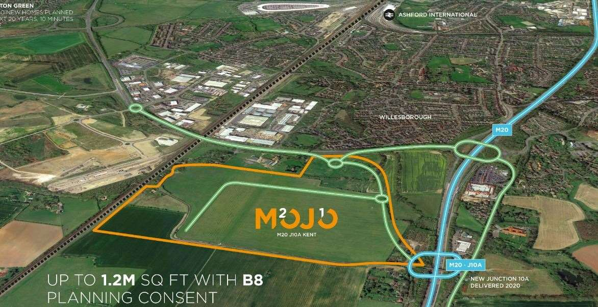 The huge MOJO site is near to the newly-built Junction 10a at Ashford