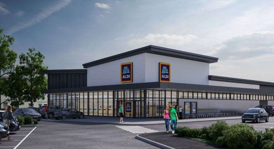 Artist impression of how the Aldi store in Deal will look