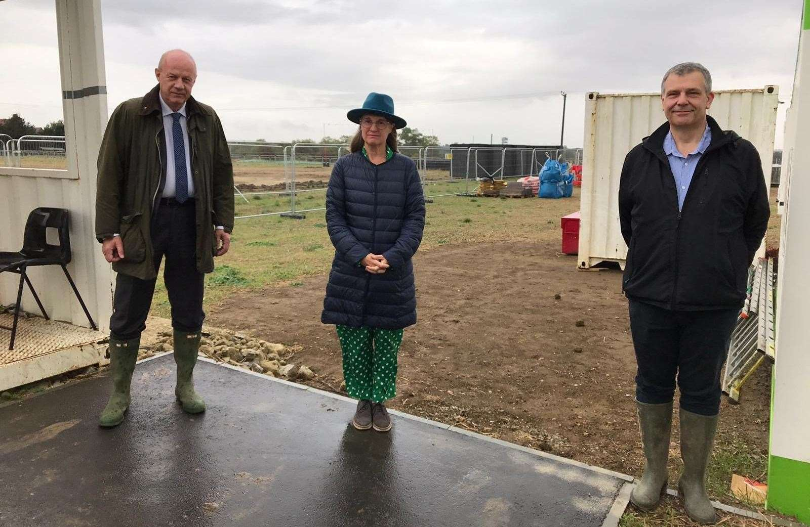 Ashford MP Damian Green, Rachel Maclean and Cllr Paul Bartlett on the MOJO site yesterday