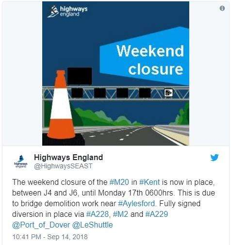 Highways England confirmed the closure (4186409)