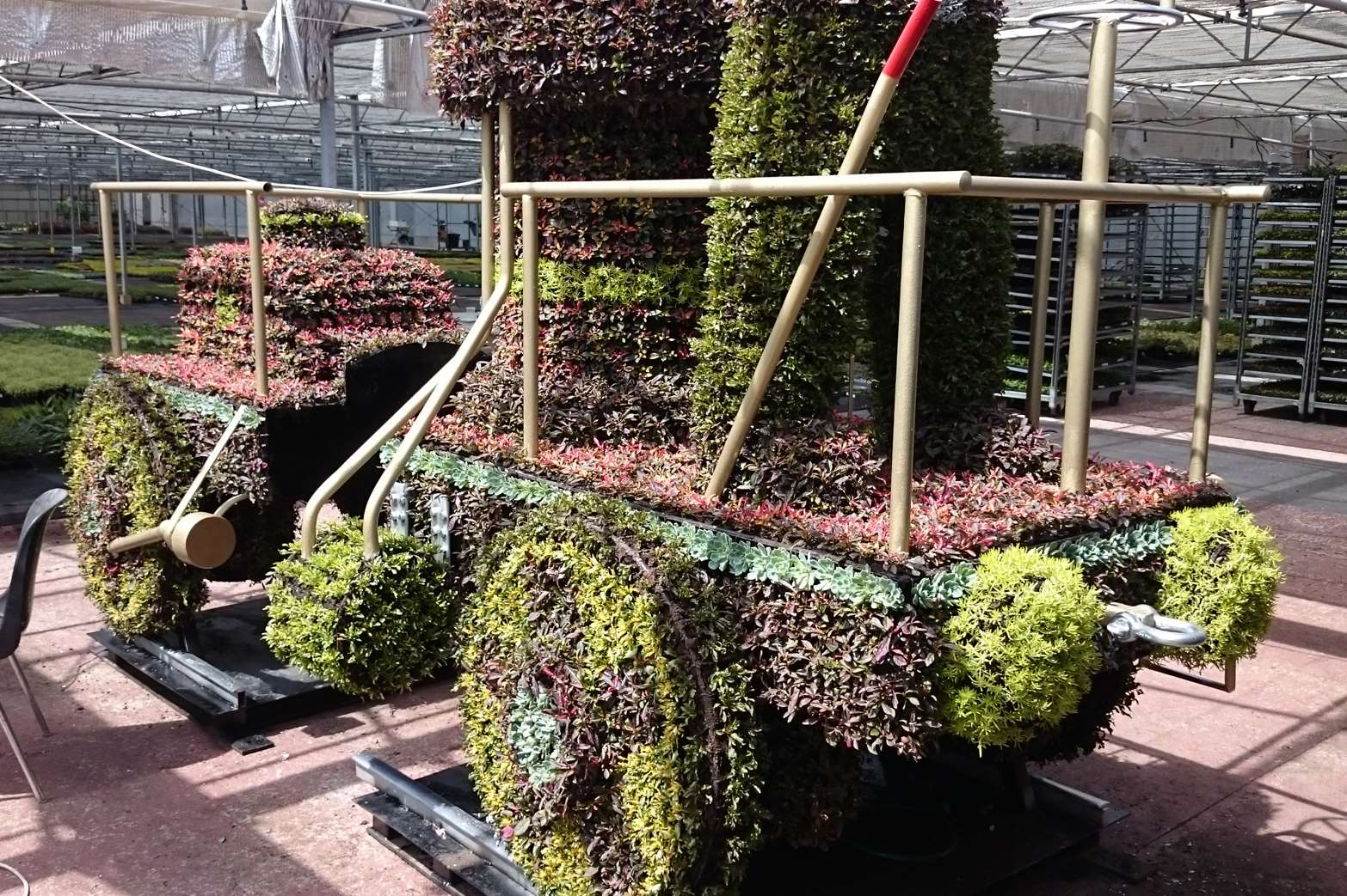 The Coffee Pot Train floral installation will be moved to the car park later this week