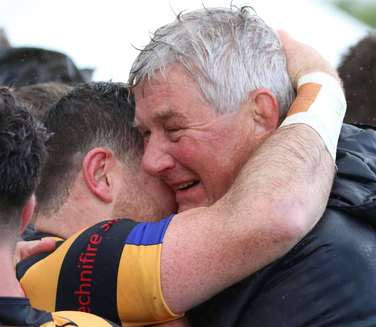 Canterbury chairman Giles Hilton celebrates the Chester win with scrum-half Dan Smart Picture: Kent Sports Images