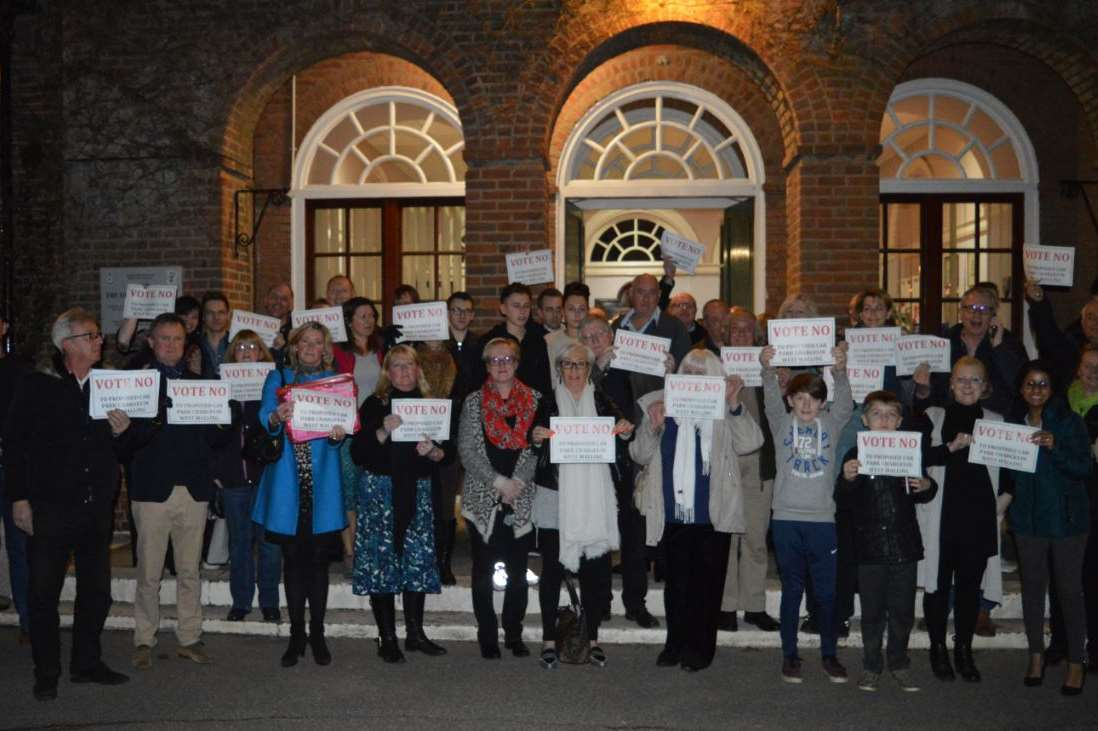 Residents protest outside Tonbridge and Malling Borough Council's offices