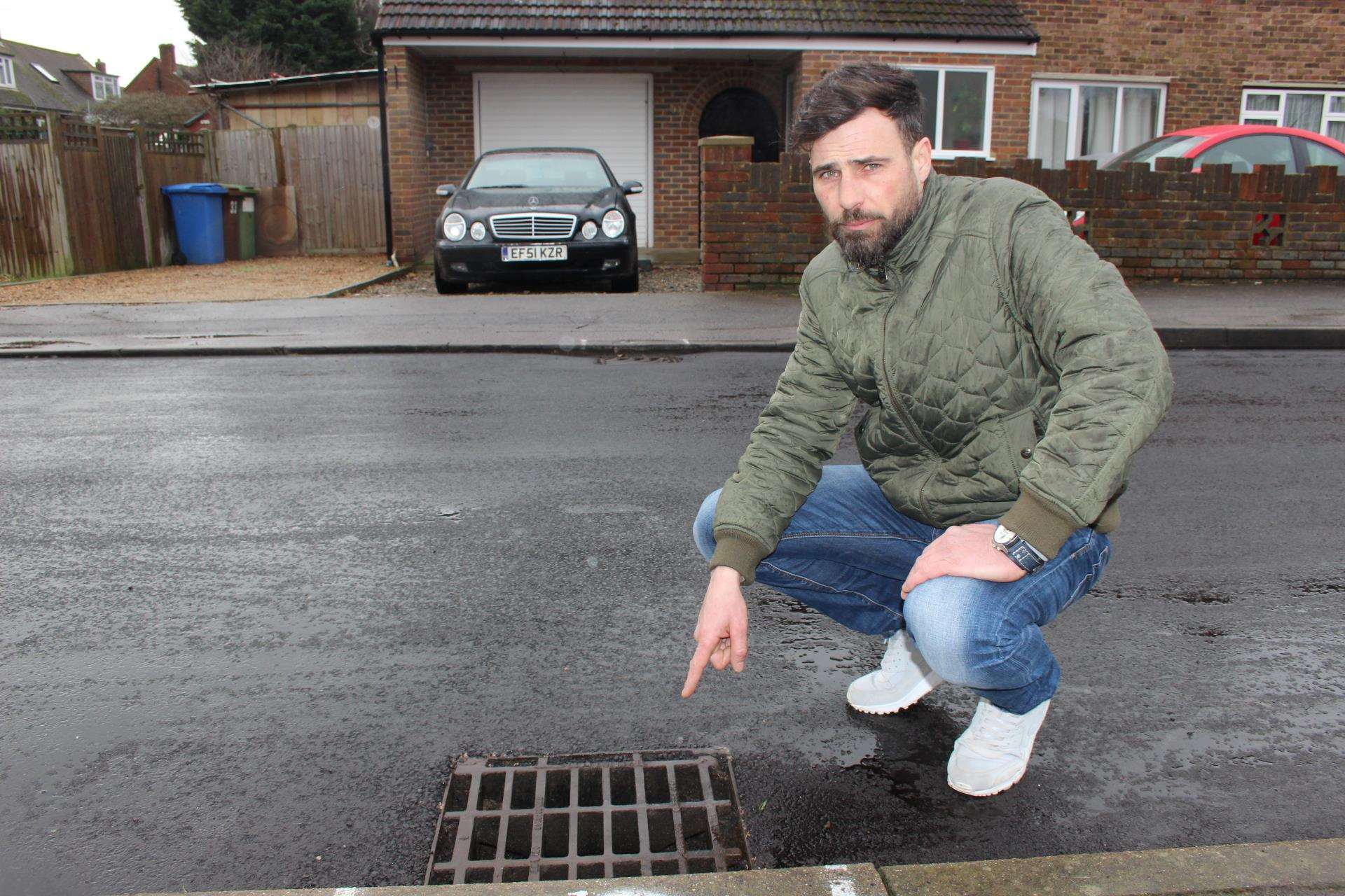 Sean Maxwell believes there may be a leak in one of the drains outside his home in Sheerstone, Iwade