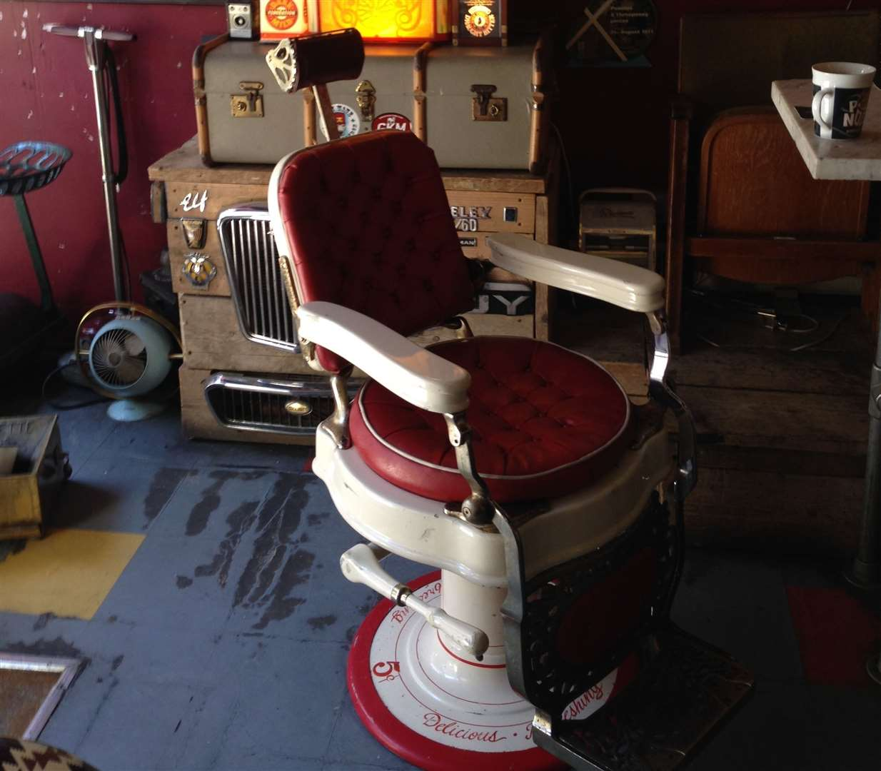You can perch on an old barber chair while sipping your cider