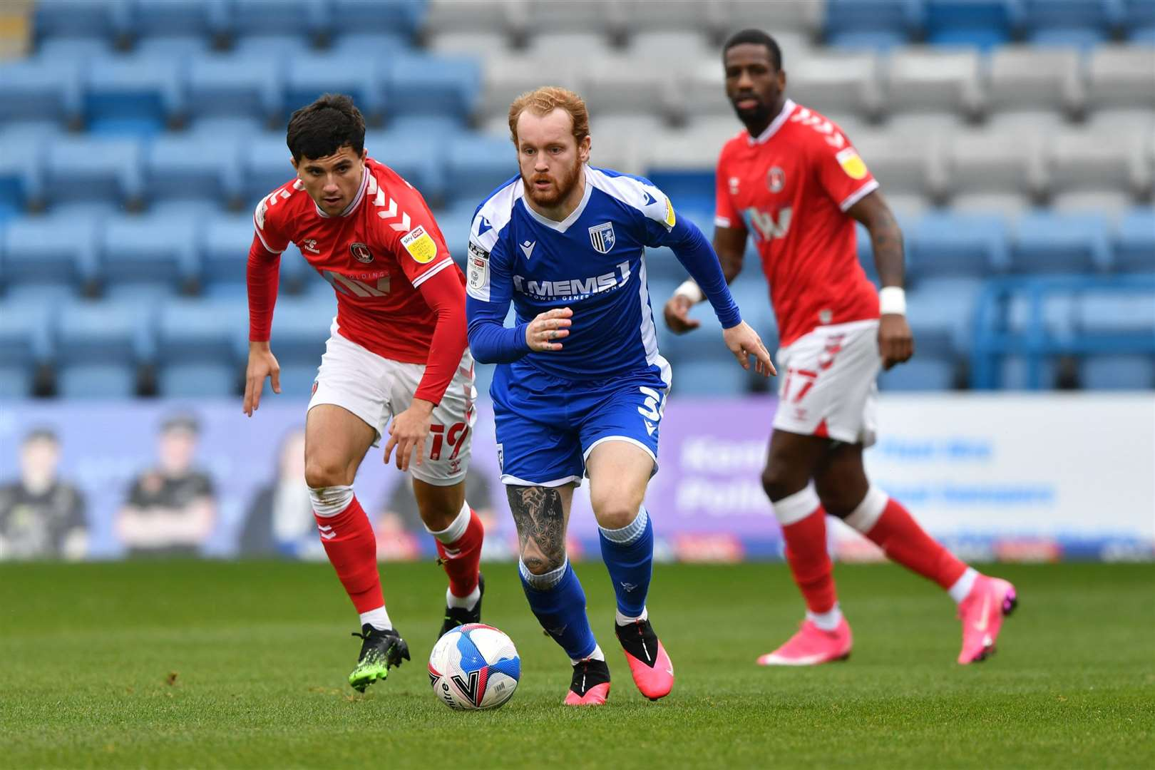 Connor Ogilvie looks to get Gillingham moving forward Picture: Keith Gillard