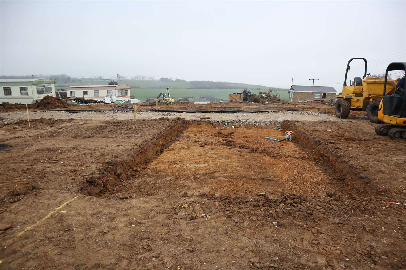 Digging foundations for new luxury lodges at Eastchurch Holiday Centre on the Isle of Sheppey