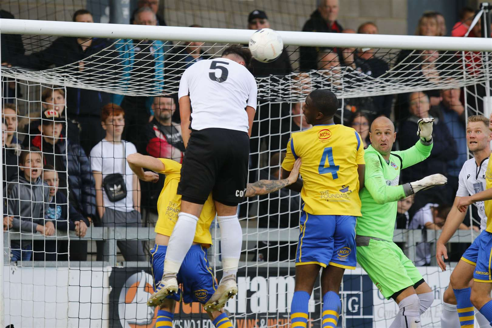 Dartford's Ronnie Vint is unable to convert this header against Kingstonian. Picture: Andy Jones