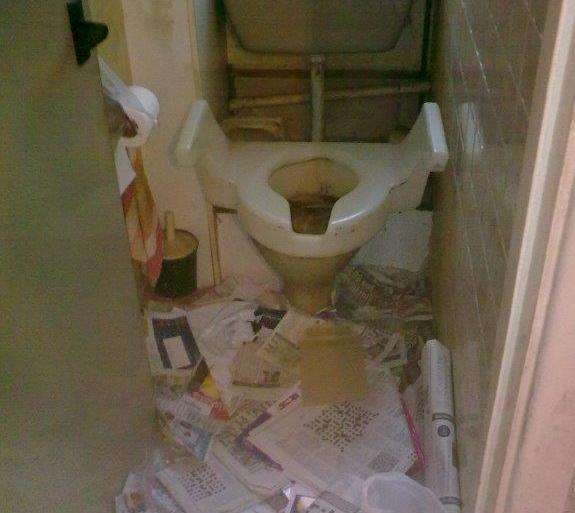 A toilet is littered with rubbish