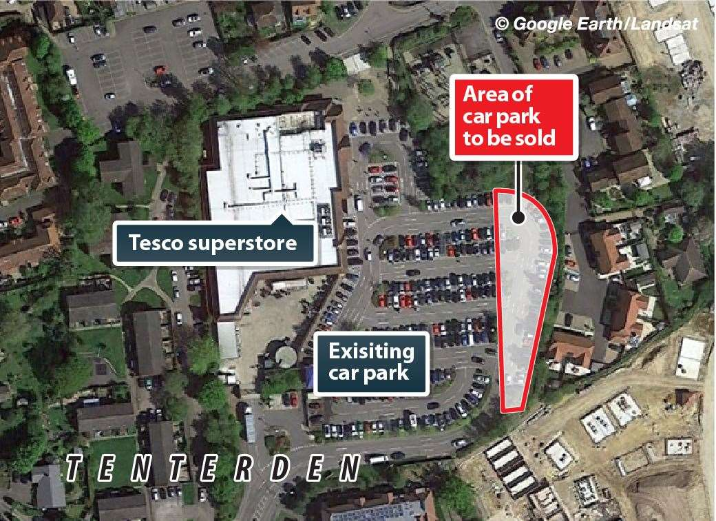 The portion of Tesco car park to be sold