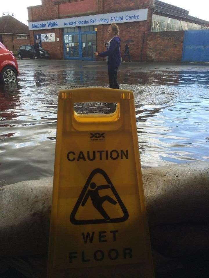 Flooding outside the Red Cow in Moat Sole, Sandwich in 2014 Picture: Kurt King