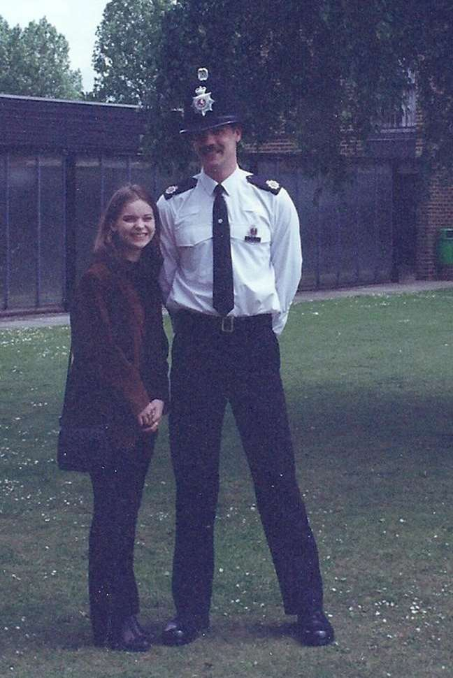 PC Colin Stroud at his passing out parade at Kent Police headquarters in Maidstone in 1997, with his wife, Jenny.