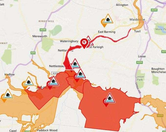 Flood alerts have been issued for areas close to the River Medway Picture: ENVIRONMENT AGENCY