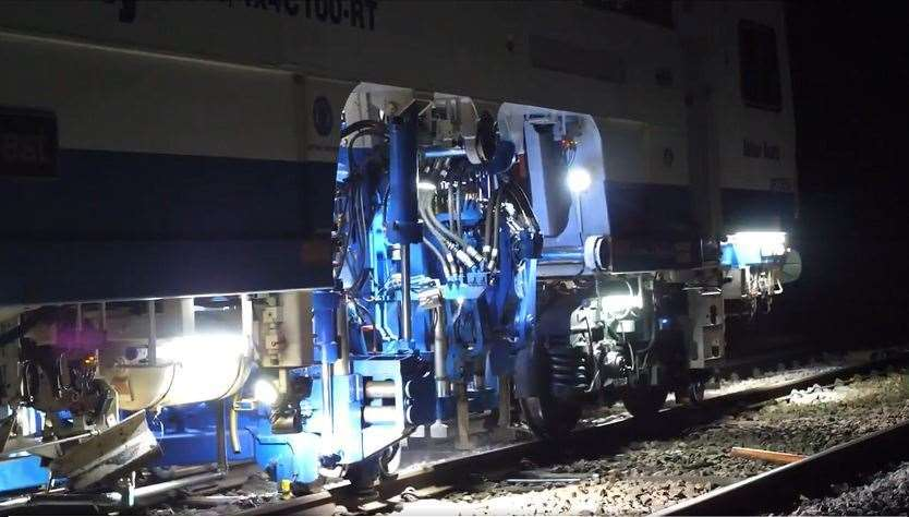 "A ""tamper"" is a machine used to pack (or tamp) the track ballast under railway tracks to make the tracks more durable. Picture @NetworkRailSE"