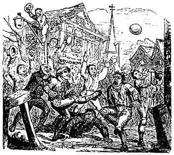 An illustration of the sort of 'mob football' which broke out in Canterbury in Christmas 1647, much to the Puritans' displeasure