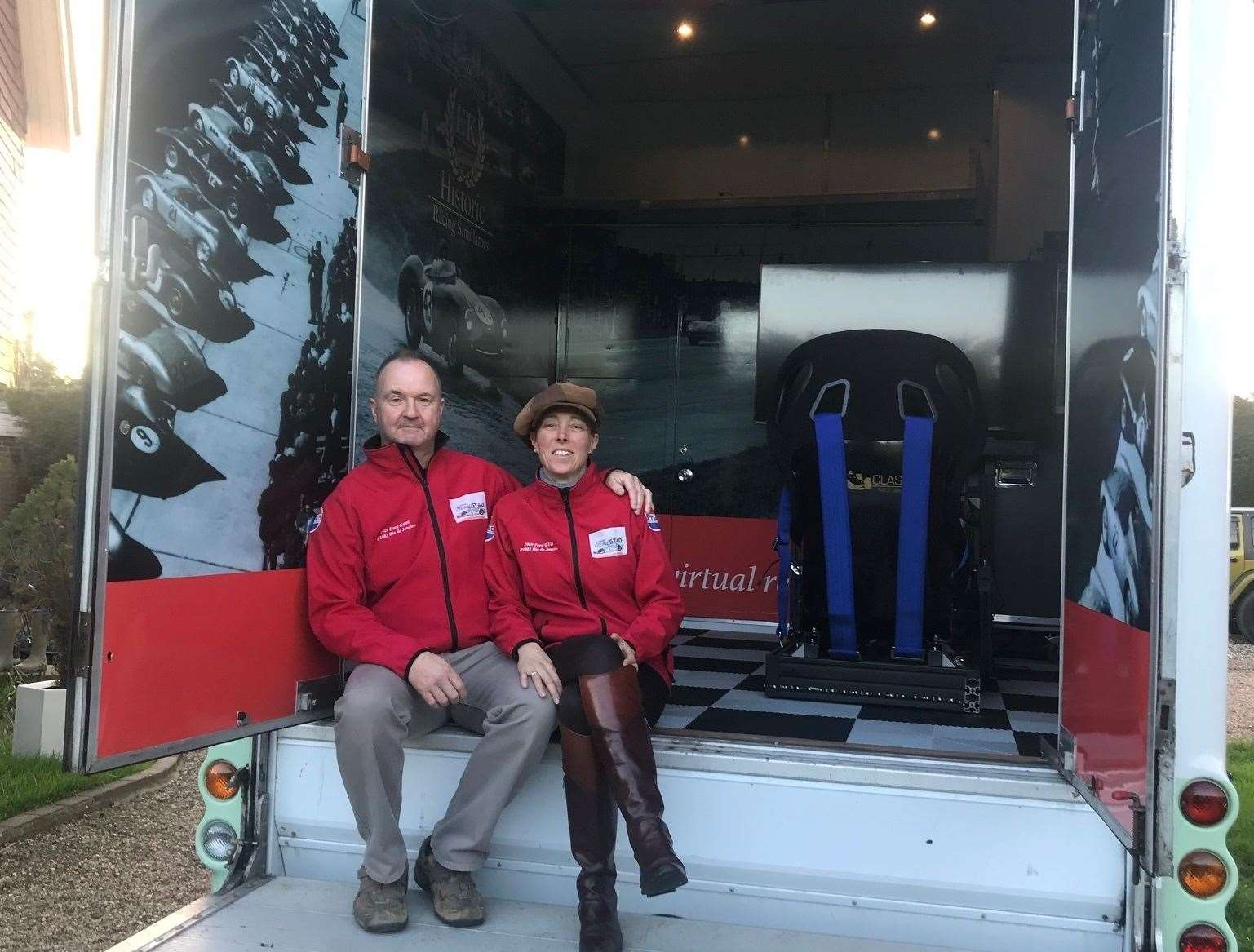 Emma and Kevin Llewellyn, owners of Historic Racing Simulators