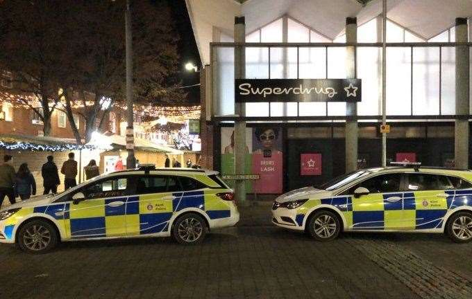Police in Canterbury city centre after incident at Poundland this afternoon Picture: UKNIP (22983125)