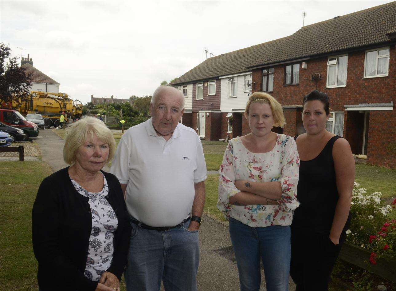 Carole and Eric Tress, Carrieann Gibbons and Stacey Tailor whose gardens were flooded in Castlemere Avenue, Queenborough