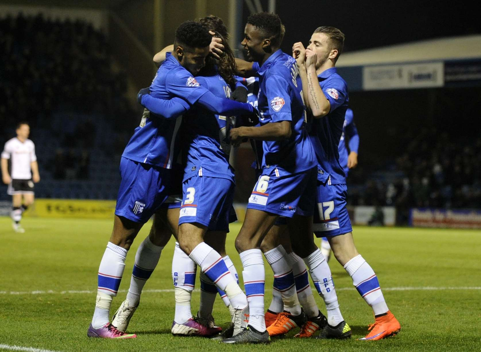Gillingham players celebrate Bradley Dack's opener Picture: Barry Goodwin
