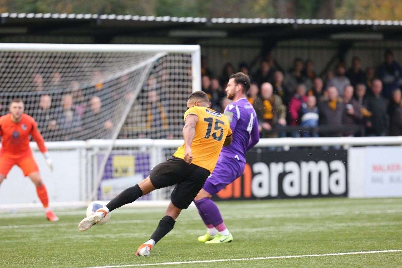 Dan Wishart fires Maidstone in front at the Gallagher Picture: Matthew Walker