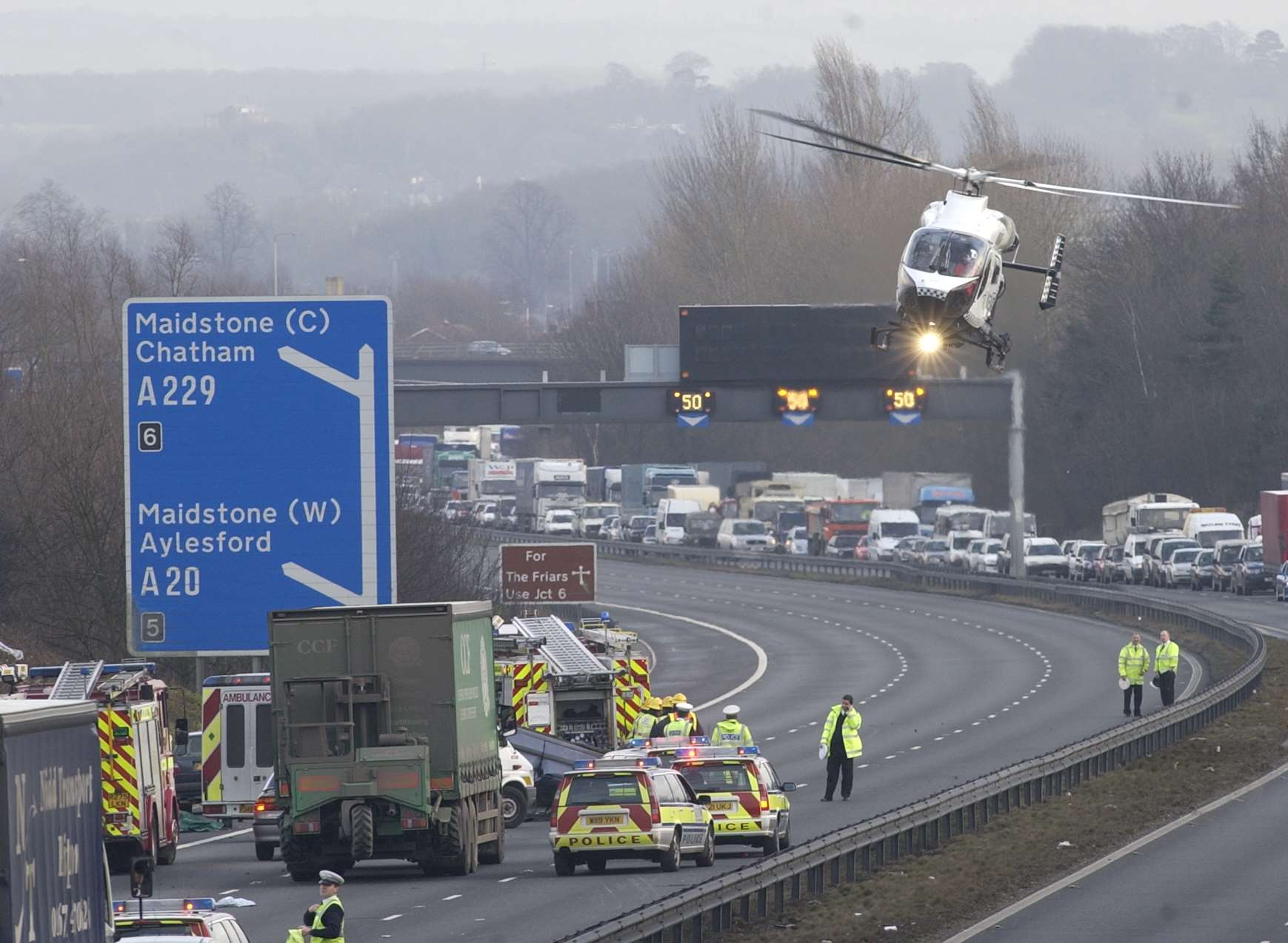 The air ambulance in action on the M20. Library image.
