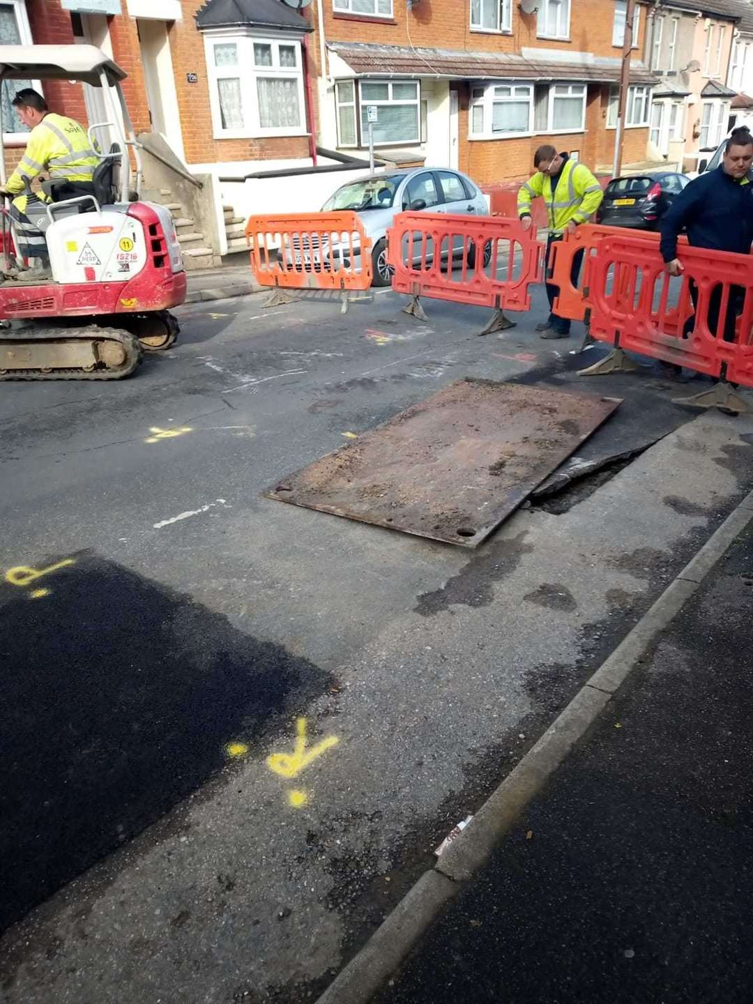 A metal sheet covers the hole in Corporation Road, Gillingham. Pic:Graham Buckley