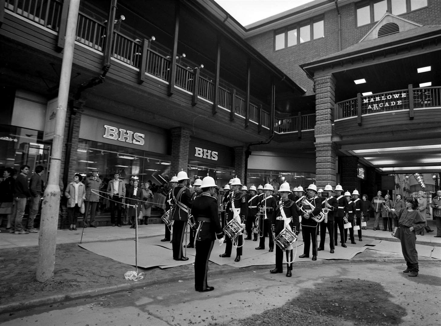The Royal Marines band at the Marlowe Arcade opening in 1985. BHS is now occupied by Primark