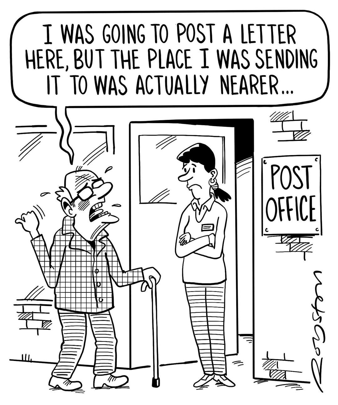 Post office cartoon by Royston Robertson