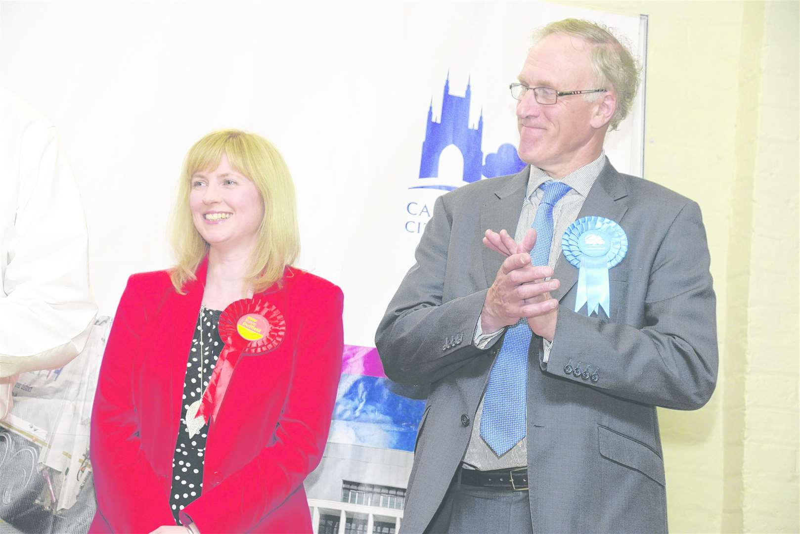 Labour's Rosie Duffield and Sir Julian Brazier at the 2017 election count