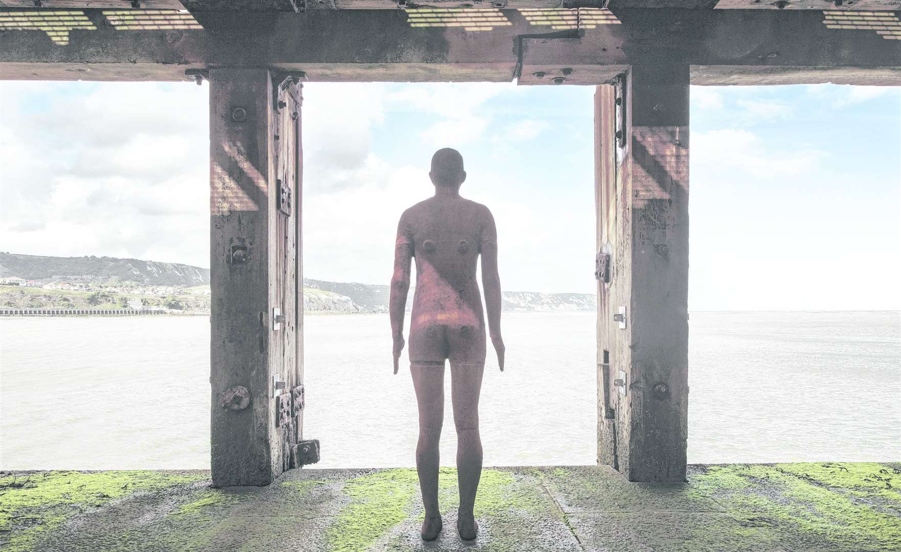 Antony Gormley's cast iron statue is staying in Folkestone's Harbour Arm