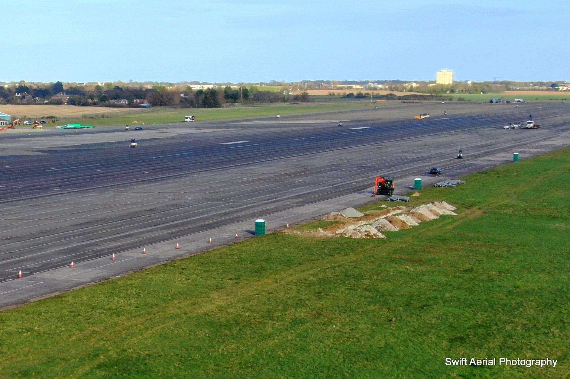 Aerial views taken last year showing work at Manston Airport to prepare for the arrival of HGVs. Picture: Swift Aerial Photography