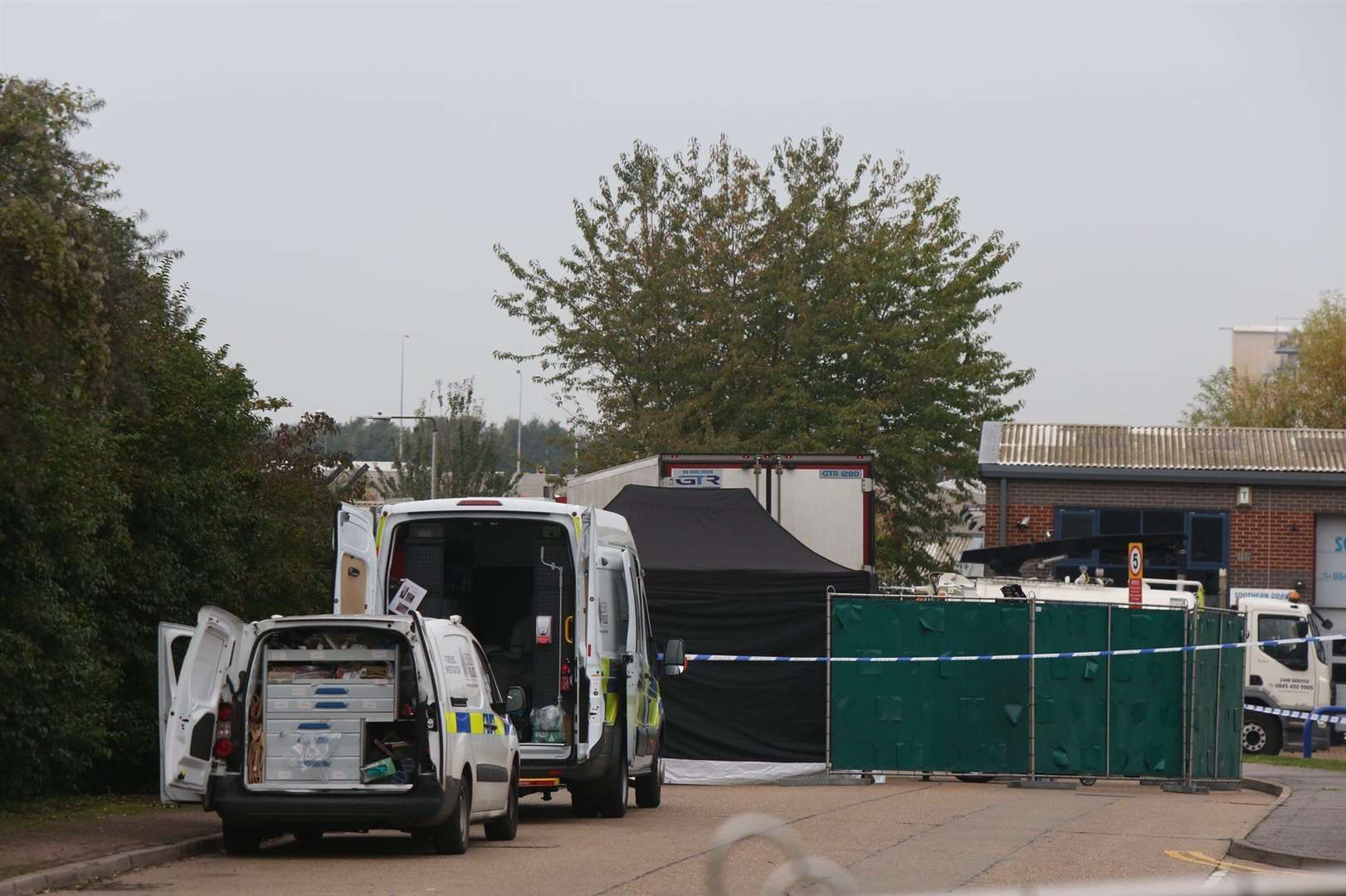 Police have found 39 bodies in a lorry at Thurrock. Picture: UKNIP