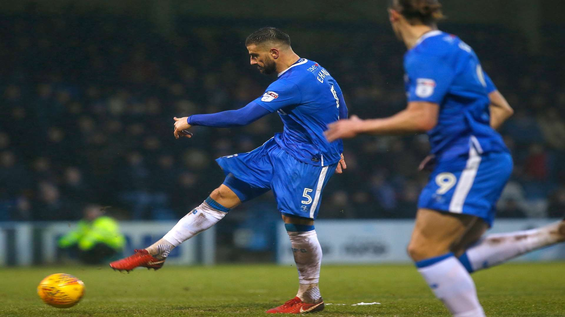 Max Ehmer scores Gillingham's stoppage-time equaliser against Peterborough Picture: Andy Jones