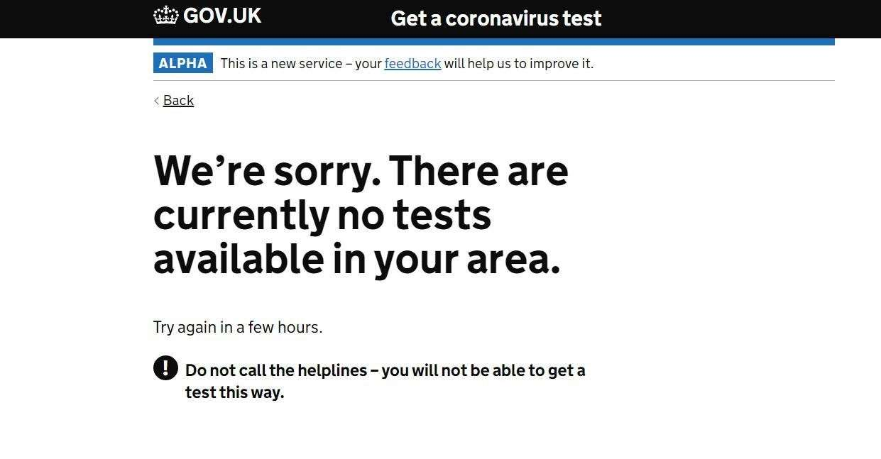 What you get on the Covid test booking site tonight