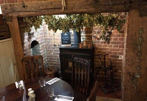 At the Woolpack, Chilham the fire wasn't alight but there is a second inglenook fireplace in the restaurant