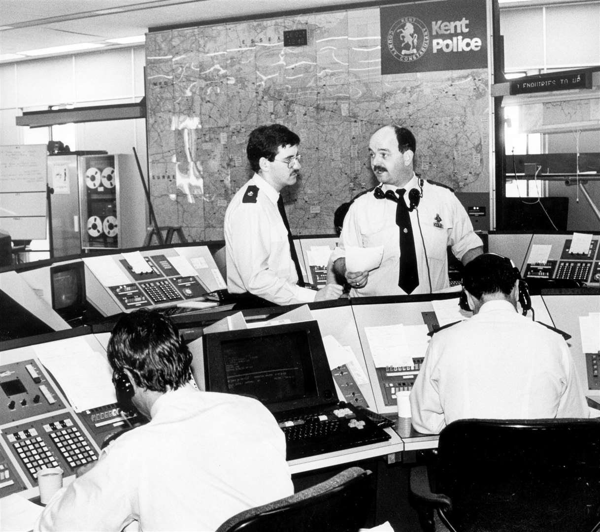 A photograph taken of the control room inside the Kent Police headquarters in 1987