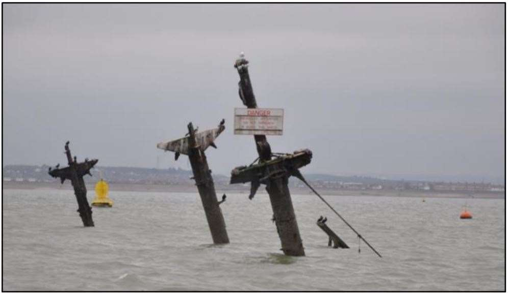 Masts of the wreck of the SS Richard Montgomery off Sheerness. Picture: Maritime & Coastguard Agency