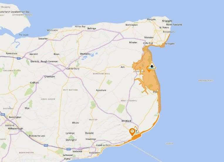 Most of the East Kent coast has a flood warning in place for tonight. Picture: Flood information service