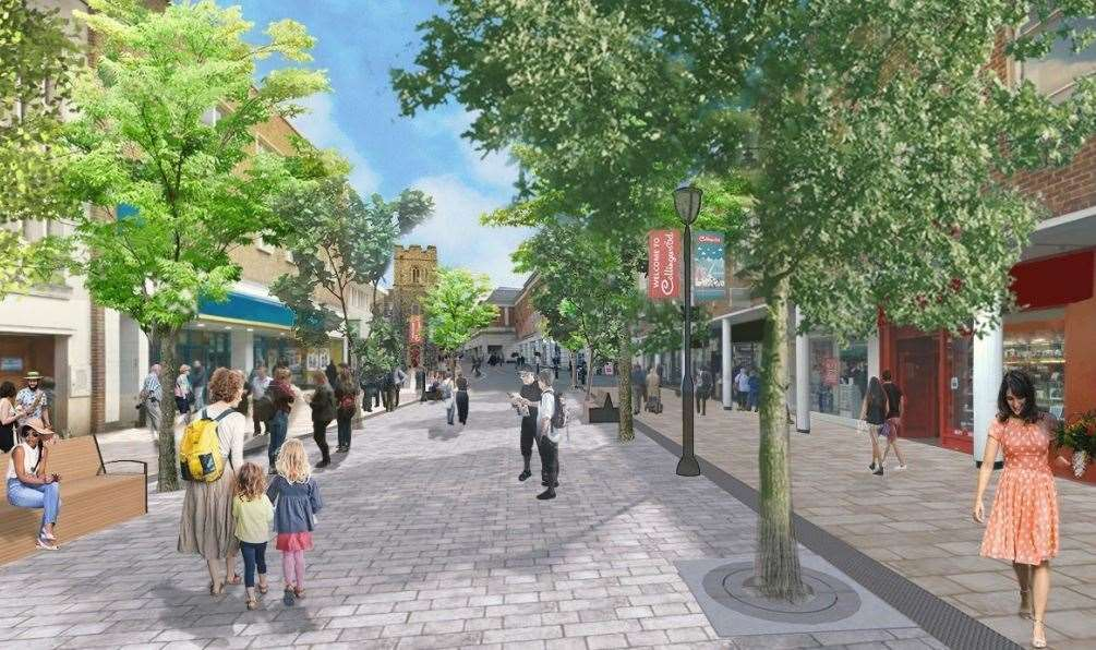 A CGI showing how St George's Street would look after the makeover