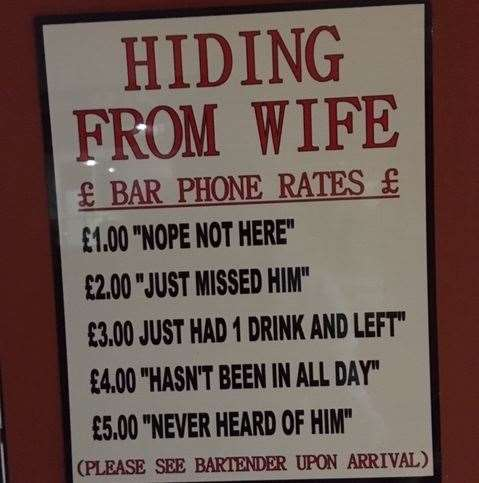 Holding onto some old pub traditions, you're treated to a selection of humorous signs dotted about the place